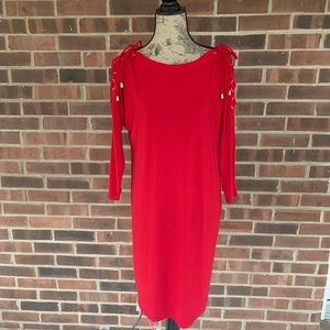 NWT Emma and Michele red long sleeve dress